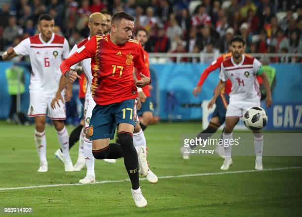 Lago Aspas of Spain flicks the ball into the goal for their second to make it 22 during the 2018 FIFA World Cup Russia group B match between Spain...