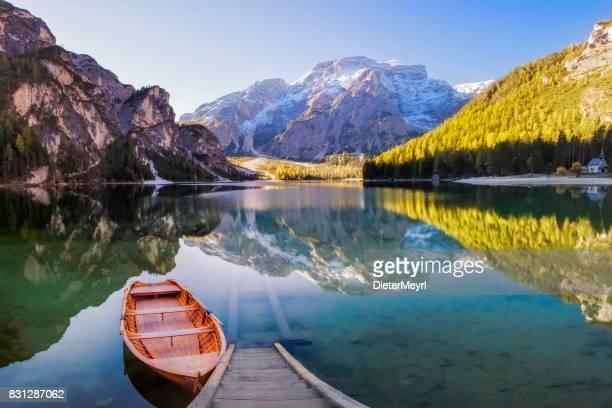 Lago di Braies Oder Wildsee Wildsee in italienischen Alpen