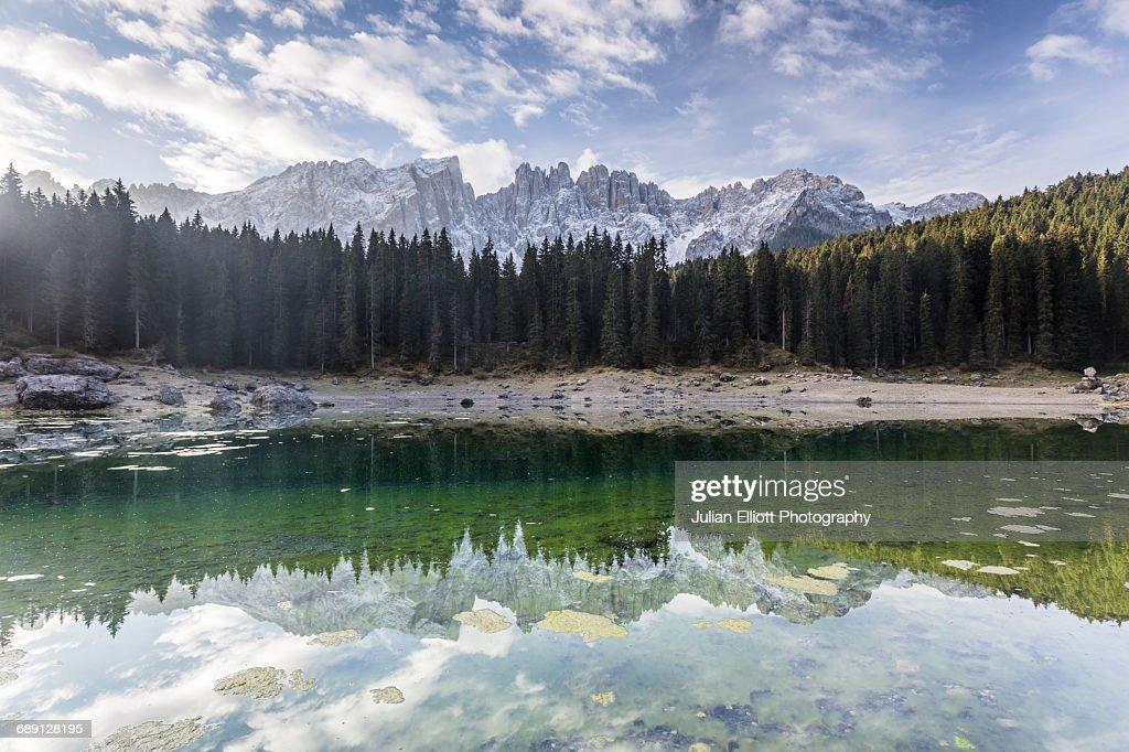 Lago di Carezza and the Latemar mountain range : Stock Photo