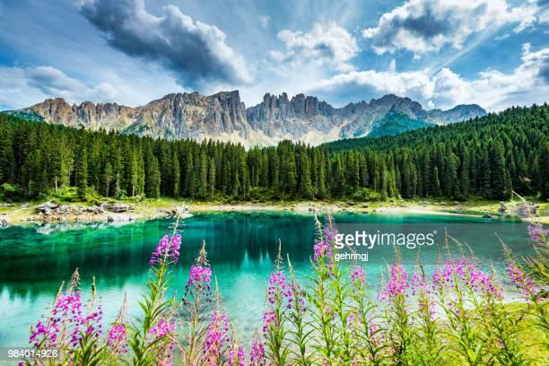 Lago di Carezza-Karersee, in der Nähe von Bozen, Trentino-Alto Adige, Italien