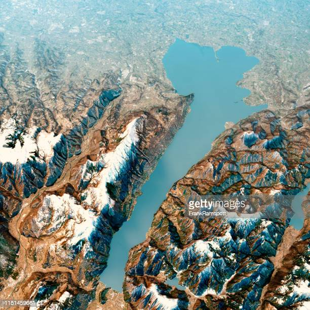 lago di garda 3d render aerial landscape view from north feb 2019 - frankramspott stock pictures, royalty-free photos & images