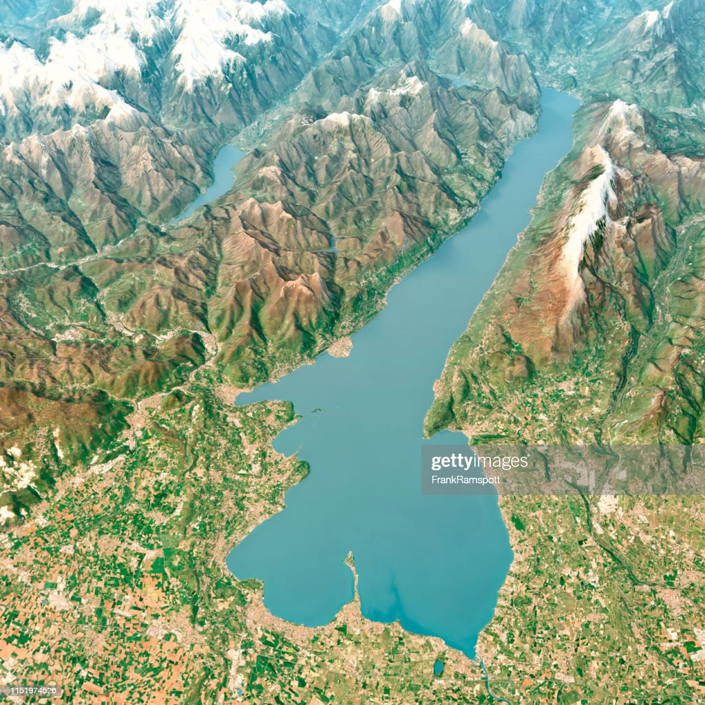 Lago Di Garda 3D Render Aerial Landscape View from South April 2018 : Stock Photo
