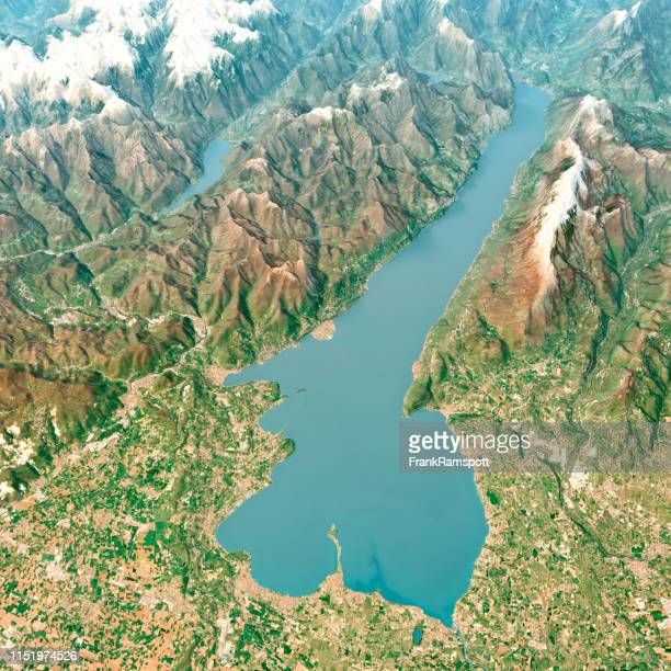 lago di garda 3d render aerial landscape view from south april 2018 - frank ramspott stock pictures, royalty-free photos & images