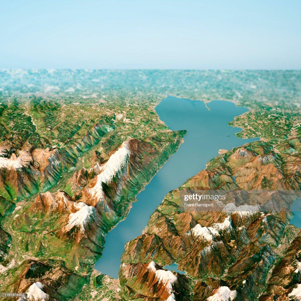 Lago Di Garda 3D Render Horizon Aerial View from North April 2018 : Stock Photo