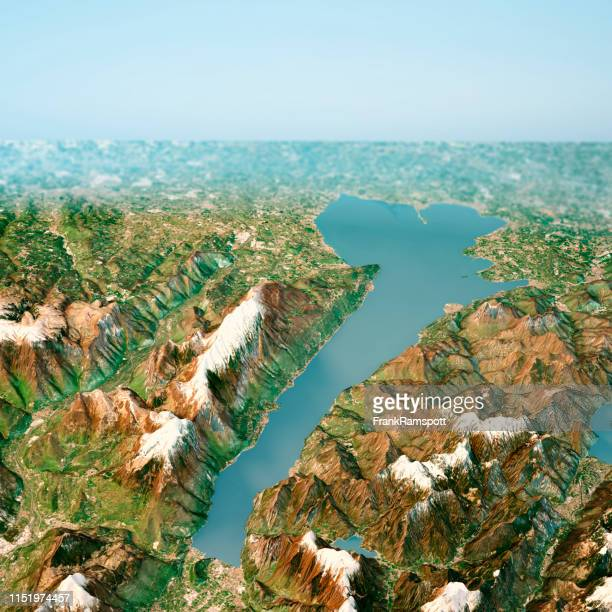 lago di garda 3d render horizon aerial view from north april 2018 - frank ramspott stock pictures, royalty-free photos & images