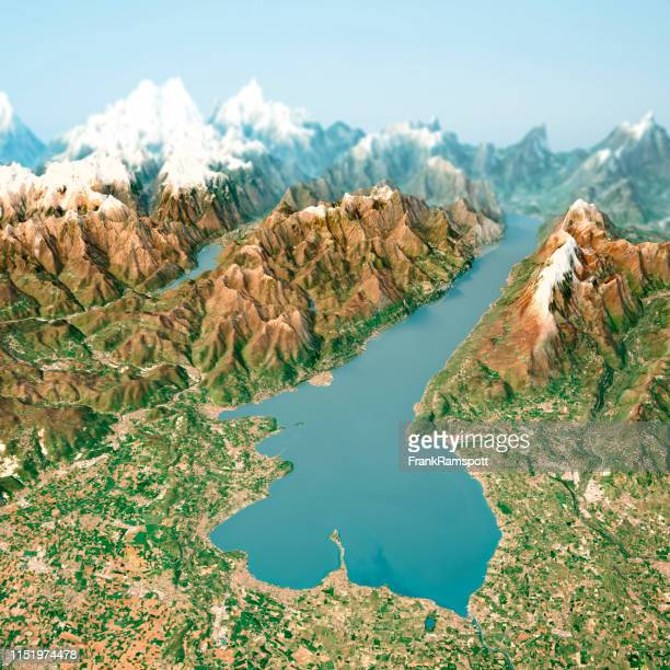 lago di garda 3d render horizon aerial view from south april 2018 - frank ramspott stock pictures, royalty-free photos & images