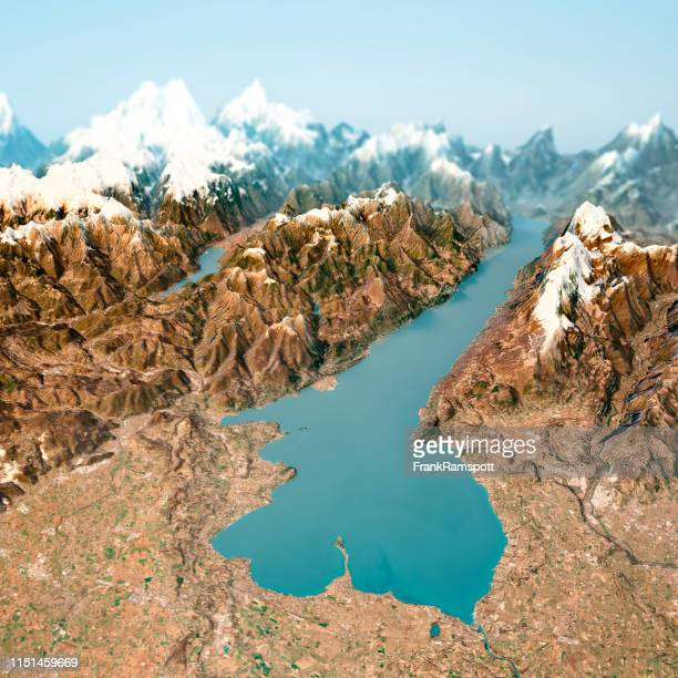 lago di garda 3d render horizon aerial view ab south feb 2019 - frankramspott stock-fotos und bilder
