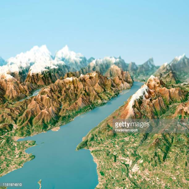 lago di garda 3d render horizon topo view from south april 2018 - frank ramspott stock pictures, royalty-free photos & images