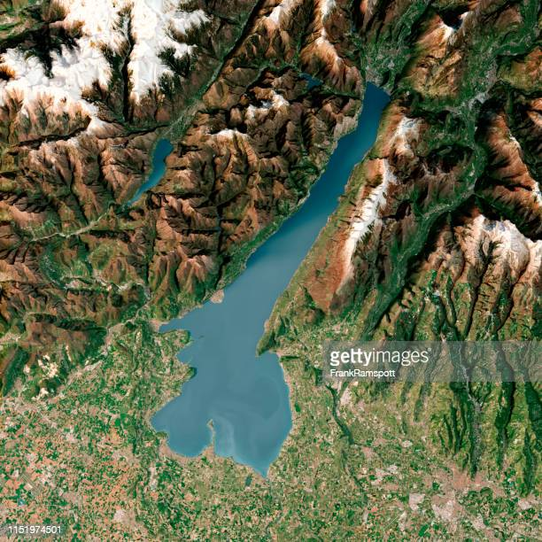 lago di garda 3d render topographic map top view april 2018 - frankramspott stock-fotos und bilder