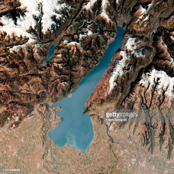 lago di garda 3d render topographic map top view feb 2019 - frankramspott stock-fotos und bilder