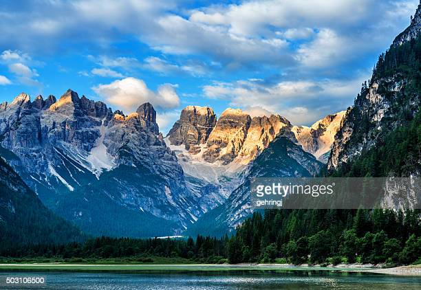 lago di landro (dürrensee), dolomites in south tyrol, italy - toblach stock photos and pictures