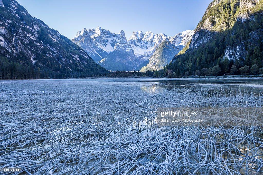 Lago di Landro in the Italian Dolomites. : Stock Photo