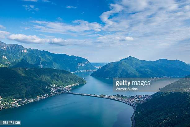 lago di lugano - view from monte san salvatore - スイス ルガーノ ストックフォトと画像