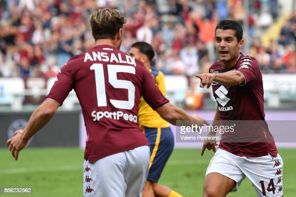 Lago Falque of Torino FC celebrates after scoring the opening goal with team mate Cristian Ansaldi during the Serie A match between Torino FC and...