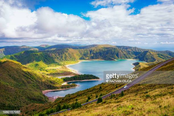 lagoa de fogo - atlantic islands stock pictures, royalty-free photos & images