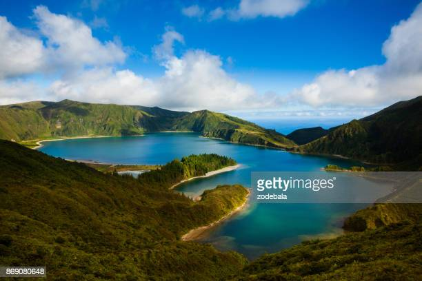 lagoa do fogo and green valley on san miguel island - cape verde stock pictures, royalty-free photos & images