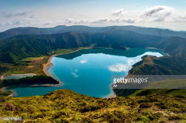 lagoa do fogo, são miguel island, azores, portugal - caldera stock pictures, royalty-free photos & images