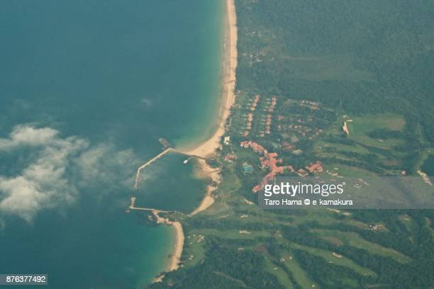 Lagoi Beach in Bintan Island in Indonesia daytime aerial view from airplane