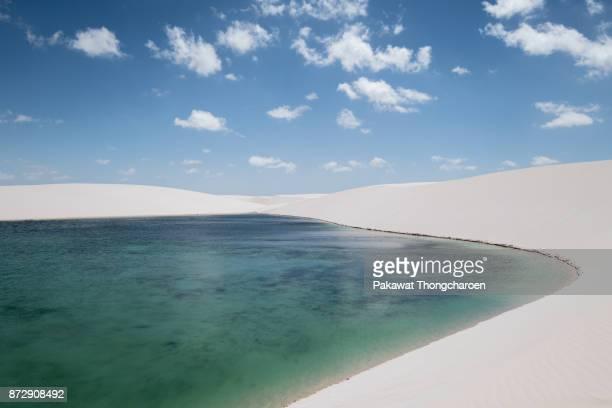 lagoon at lencois maranhenses, brazil - oasis fotografías e imágenes de stock