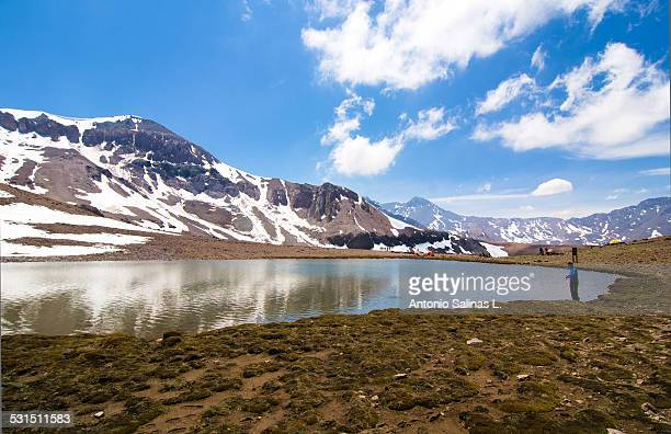 Lagoon at the Andes. Near snowy mountains