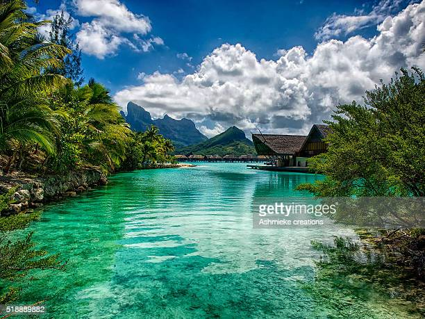 lagoon four seasons resort bora bora french polynesia - four seasons stock pictures, royalty-free photos & images