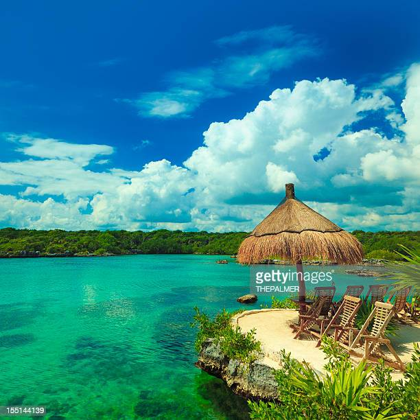 lagoon in mexico - mayan riviera stock photos and pictures