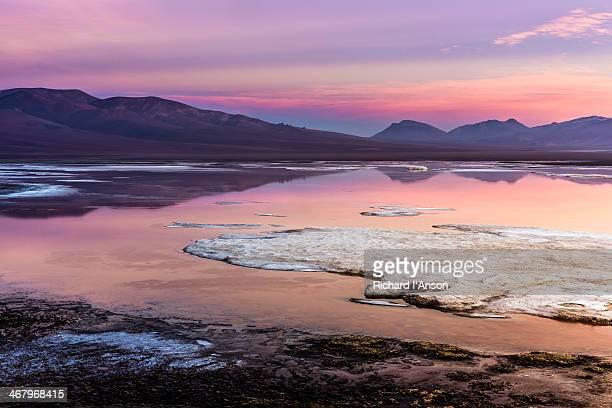 Lagoon on Atacama Salt Flat at dawn