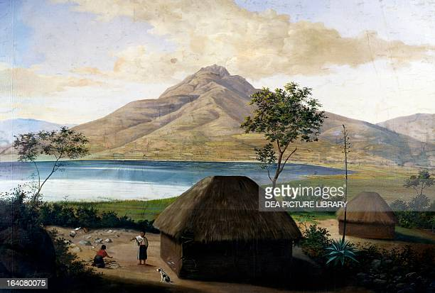 Lagoon San Pablo near Quito Ecuador engraving from Voyage to the Equinoctial Regions of the New Continent 17991804 by Alexander von Humboldt and Aime...