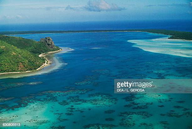Lagoon with crystal clear waters Maupiti island Society islands French Polynesia
