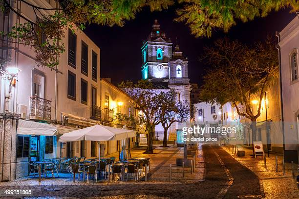 lagos at night - lagos portugal stock photos and pictures