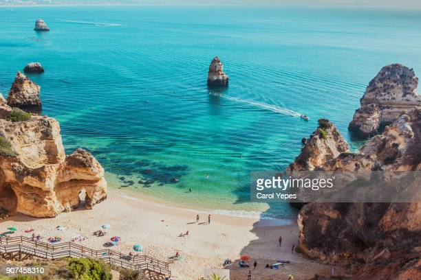 lagos beach in algarve,portugal - algarve stock photos and pictures
