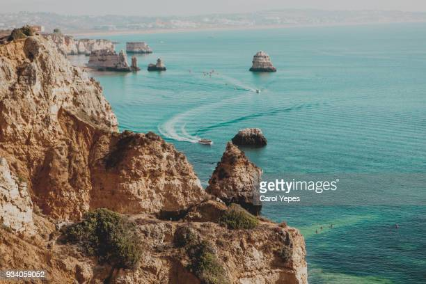 lagos beach in algarve,portugal - lagos portugal stock photos and pictures
