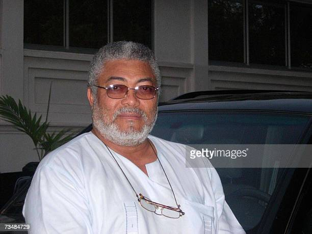 TO GO WITH AFP STORY BY Jacques LHUILLERYGhanaIndependenceAfrica Jerry Rawlings Ghana's former president waits 23 February 2007 in front of his home...