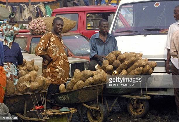 Traders stand behind yams piled up on wheel barrow at the Mile 12 market in Lagos 09 January 2006 The Mile 12 market in Lagos has resumed business...