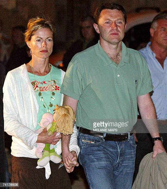 Gerry and Kate McCann the parents of the missing threeyearold girl Madeleine McCann arrive at Our Lady of Light church during a vigil for Madeleine...