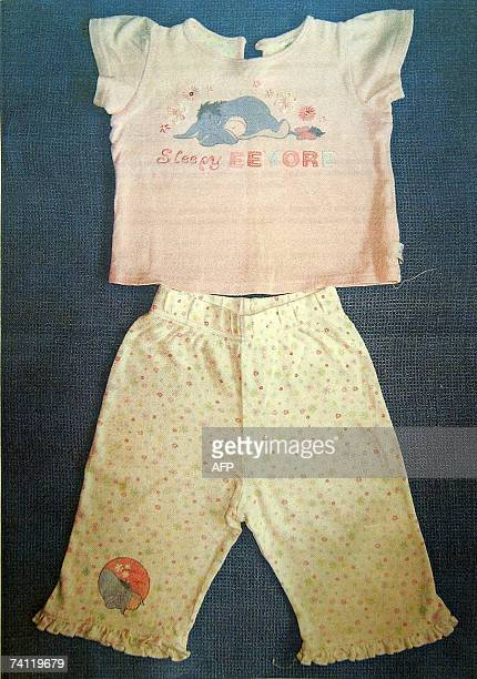 This handout picture provided by the Portuguese police taken 10 May 2007 shows a pyjama outfit identical to the one worn by threeyear old Briton...