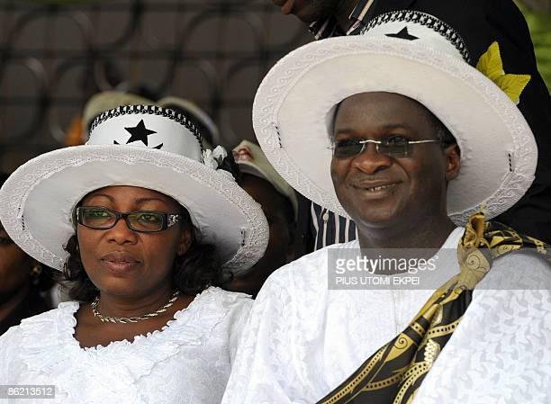 Lagos State governor Babatunde Fashola and deputy Adebisi Sosan watch Eyo masquerades known as AdamuOrisha dance at the Tafawa Balewa Square in Lagos...