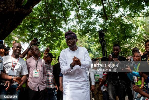 Lagos State governorship hopeful and favourite Babajide SanwuOlu of the All Progressive Congress addressees the media and onlookers at a polling unit...