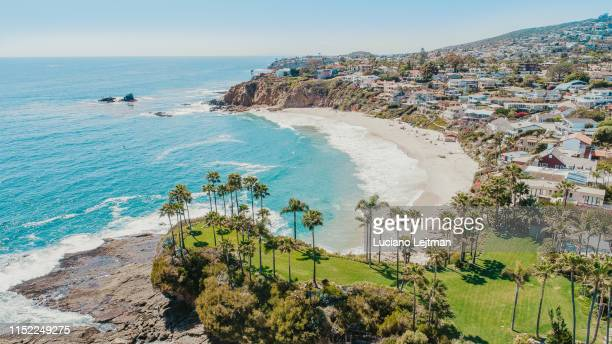 laguna beach arial view - kalifornien stock-fotos und bilder