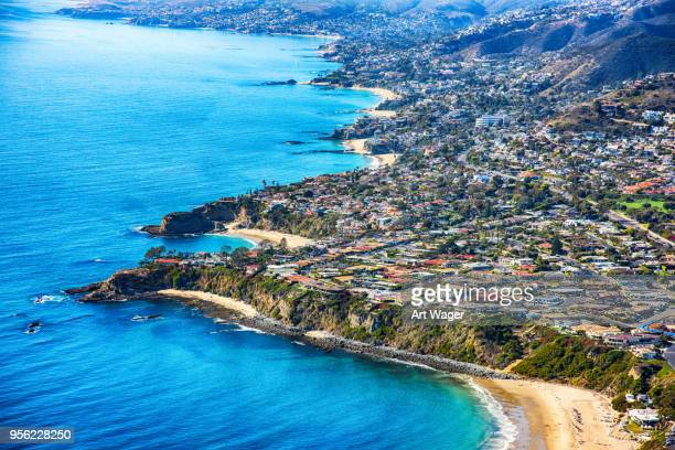 laguna beach california aerial - orange county crowded beaches stock pictures, royalty-free photos & images