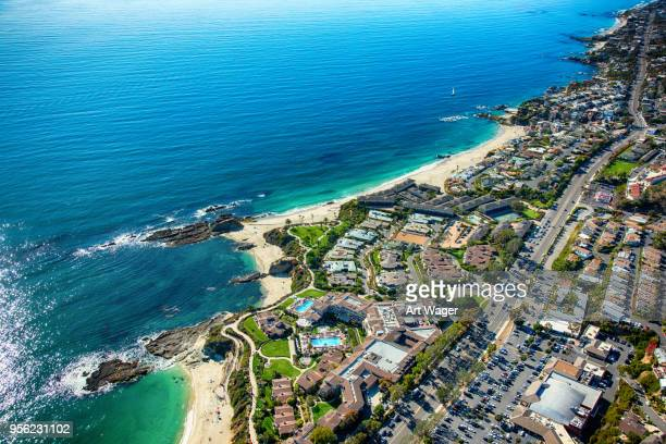 laguna beach coastal aerial - orange county crowded beaches stock pictures, royalty-free photos & images