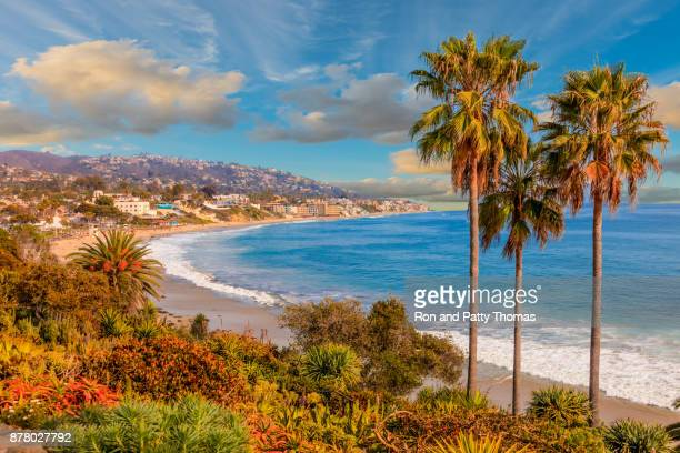 laguna beach kustlijn, stille oceaan, rte 1, orange county, ca - california stockfoto's en -beelden