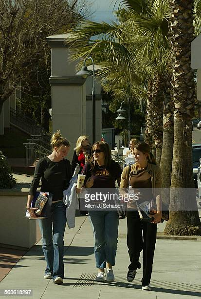 Laguna Beach High School sophomores Brittany Forrest left Meagan McCullough center and Kellie Ammerman right return from lunch Wednesday Feb 4 2004...