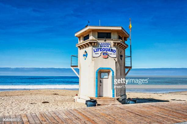 laguna beach lifeguard station early morning - laguna beach california stock pictures, royalty-free photos & images