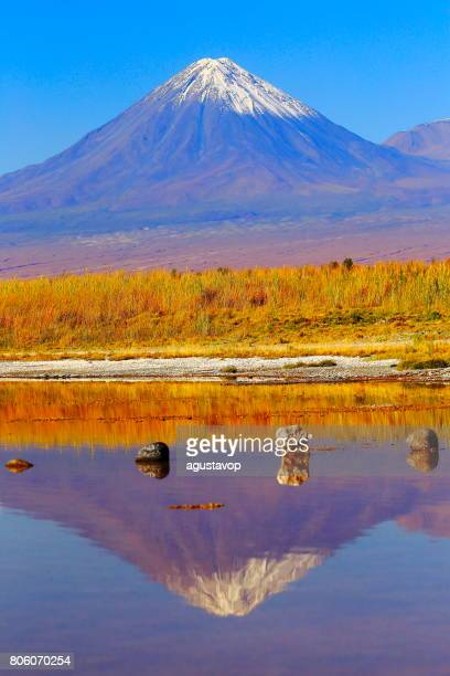Laguna Cejar – dramatic Cejar lake mirrored reflection, Licancabur and Miniques snowcapped volcanoes and Idyllic Atacama Desert, Volcanic landscape panorama – San Pedro de Atacama, Chile, Bolívia and Argentina border