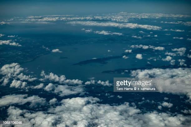 Laguna de Bay (Lake of Laguna) in Philippines daytime aerial view from airplane