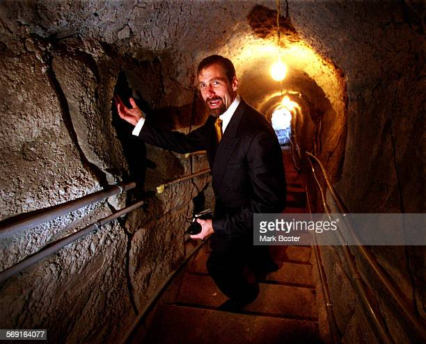 Laguna Hills–––––Dr Henry T Nicholas co–founder of Broadcom in one of the tunnels running under his Nellie Gail home connecting with the pool area