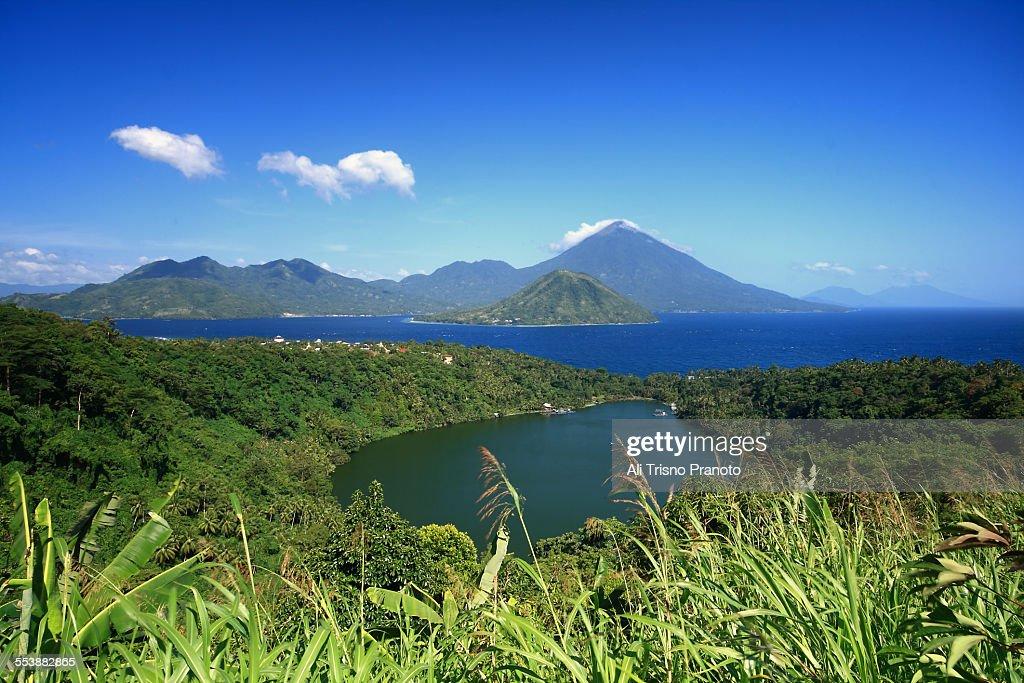 Laguna lake, Maitara and Tidore island Indonesia : Stock Photo