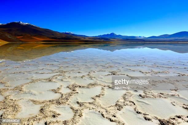 Laguna - Lake Tuyacto and Miniques Volcano - Turquoise lake salt reflection and Idyllic Atacama Desert, Volcanic landscape panorama – San Pedro de Atacama, Chile, Bolívia and Argentina border