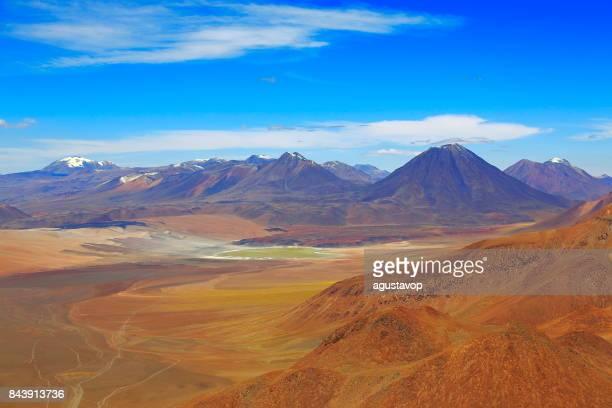Laguna Lejia from above Lascar Volcano – dramatic Atacama desert altiplano landscape panorama, snowcapped volcanoes, Idyllic Atacama Desert, Volcanic landscape panorama – San Pedro de Atacama, Chile, Bolívia and Argentina border